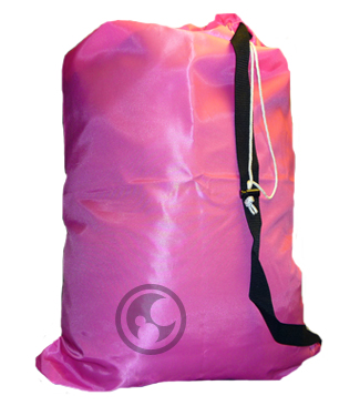 Large Nylon Laundry Bag with Strap, Fluorescent Pink