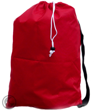 Small Nylon Laundry Bag with Strap, Red