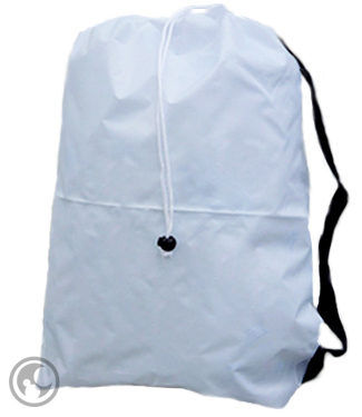 Medium White Nylon Laundry Bag with Strap